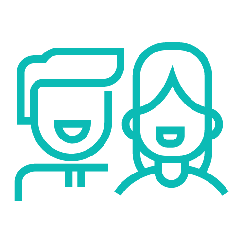 Icon of a man and a woman smiling