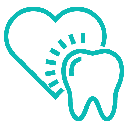 Icon of a tooth on a heart on top