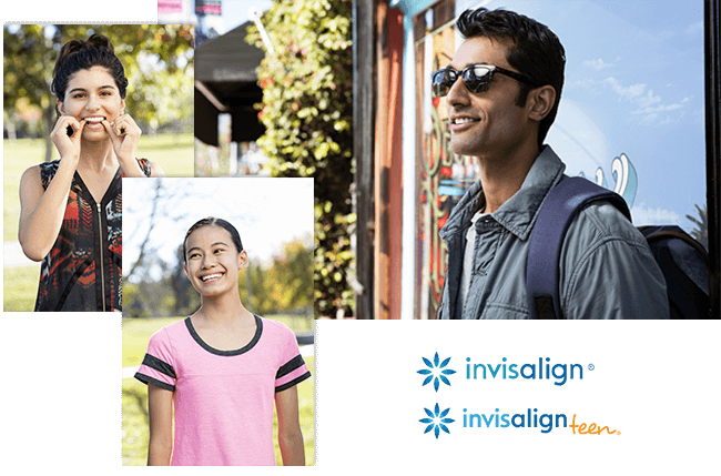 Collage of adults and teens using Invisalign